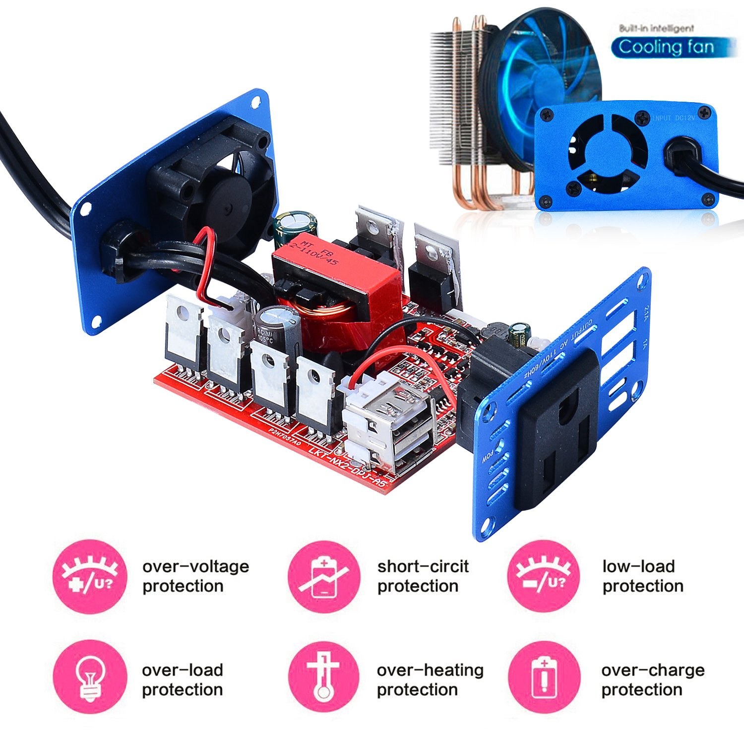 Enkey 150W Car Power Inverter DC 12V to 110V AC Converter with 3.1A Dual USB Charger - Blue by Enkey (Image #5)