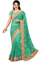 Panash Trends Women's Net Heavy Embroidery Work Saree(UJJ.K598,P,G,O)
