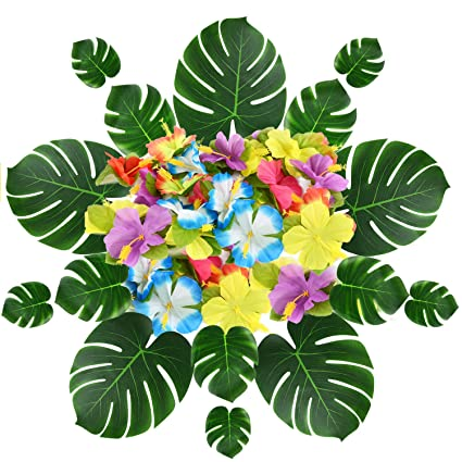 Buy Wddh 63 Pcs Tropical Palm Leaves And Flowers 14pcs Artificial