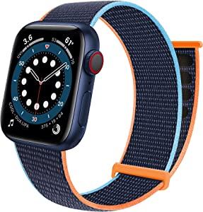 Sport Loop Band Compatible with Apple Watch Band 38mm 40mm 42mm 44mm iWatch Series 6 5 SE 4 3 2 1 Strap, Nylon Velcro Women Men Stretchy Elastic Braided Replacement Wristband Breathable Soft Light