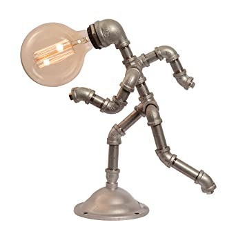Lovely Vintage Style Running Man Steampunk Water Piping Desk Top Table Lamp Rustic  Home Deco Steam Punk