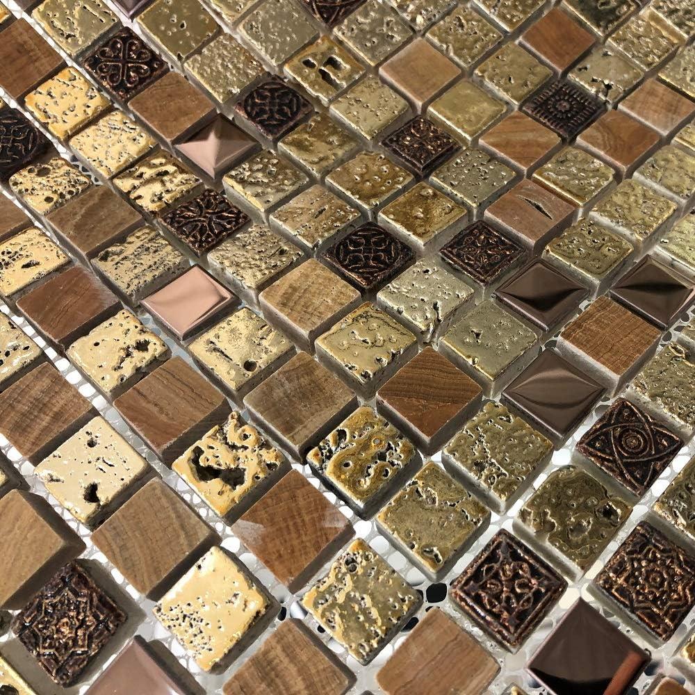 Italian Design Arctic Vintage Gold Mosaic Tiles Sheet for Walls Floors Bathrooms Kitchen