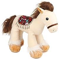 Shop4AlllStuffed Animal Horse Standing Plush Toy, Soft Toy ( 35 cm Brown, White)
