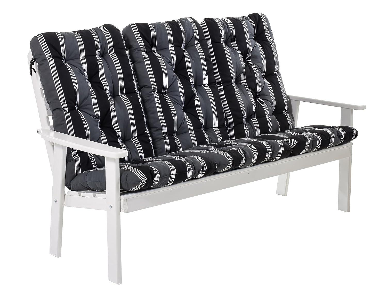 Ambientehome 90338 3-er Bank Gartenbank Holzbank Loungebank Massivholz Hanko Maxi, weiß mit Kissen, schwarz / grau