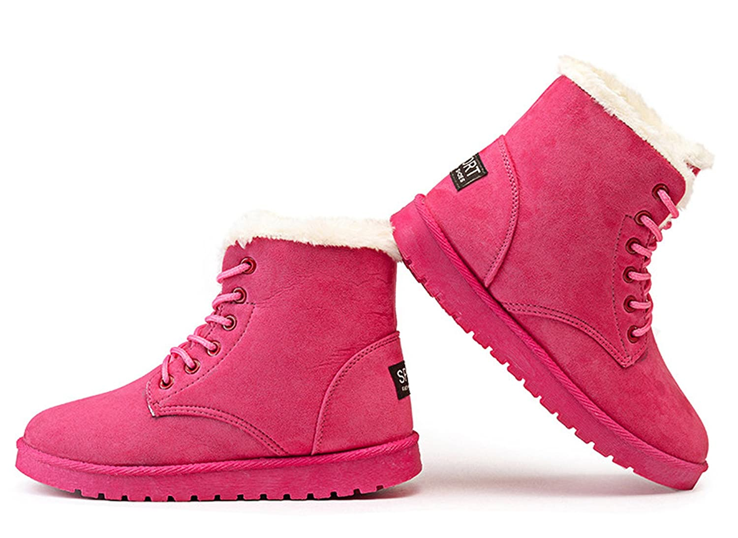 Kongsta Classic Women Winter Boots Suede Ankle Snow Boots Female Warm Fur Plush Insole Lace-Up