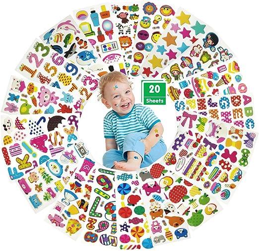 Pegatinas para Niños, 20 Hojas Diferentes Puffy Stickers Infantiles, Pegatinas 3D Infantiles Pequeñas Scrapbooking DIY Manualidades, Fabricación de Tarjetas: Animales, Letras, Números, Pasteles, etc.: Amazon.es: Hogar