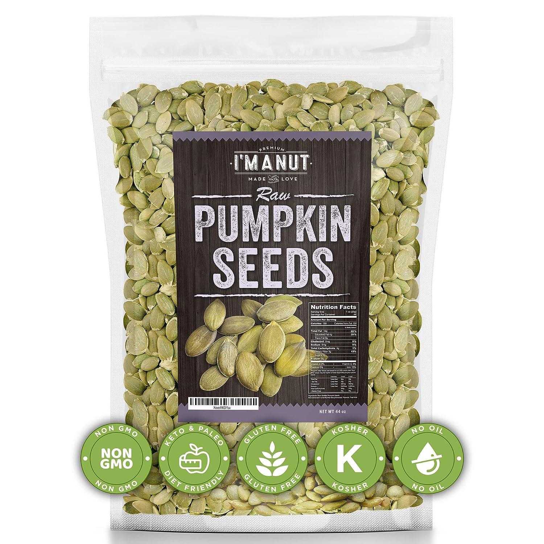 """Raw Pumpkin Seeds """"44oz"""" (Papitas) No Preservatives Added, Non-GMO, NO PPO, 100% Natural, Resealable Bag, BULK Size, Healthy, Premium Grade,"""