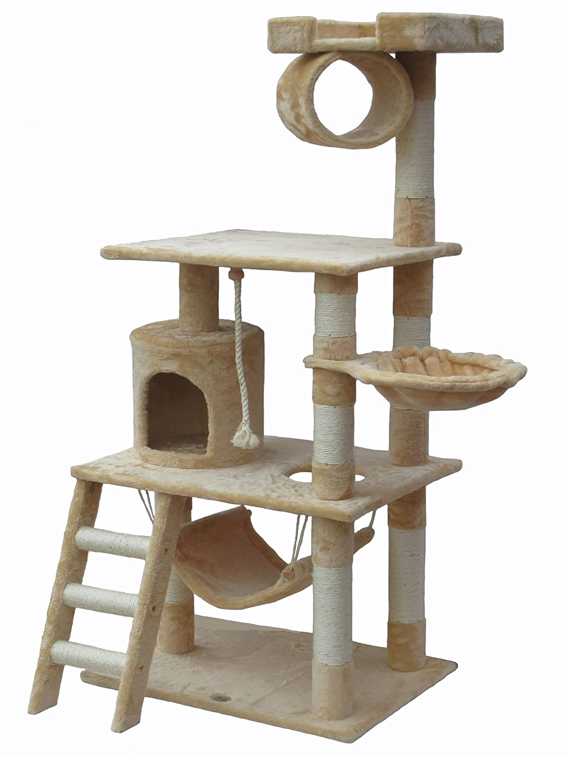 amazoncom  go pet club  tall beige cat tree furniture  -  cat tree tower condo furniture scratcher