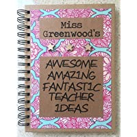 Handmade School Teachers Notebook Personalised Journal. End of Term Gift A5. Hard backed with lined paper.