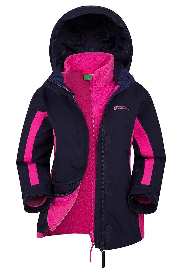 Mountain Warehouse Lightning wasserfeste 3-in-1-Kinder-Jacke - Triclimate-Jacke mit versiegelten Nähten, abnehmbare Kapuze, F