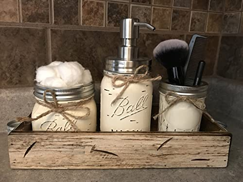Ball Mason Jar BATHROOM SET in Antique WHITE Tray ~Cotton Ball Soap Dispenser Q-Tip Holder ~Canning JARS PAINTED Distressed Pint ~Stainless Steel Silver ~Accessories ~Gray Blue Green Cream Tan Brown