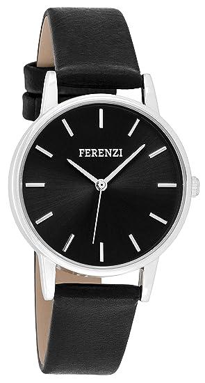 FERENZI - Reloj de Pulsera para Mujer, Moderno, de Tono Plateado y Negro Sobre Piel sintética Negra: Amazon.es: Relojes