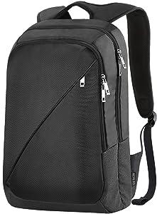 REYLEO , Laptop Backpack, Slim Business Rucksack Water Resistant Casual Daypack for College Travel Commuter Black Bag RB01