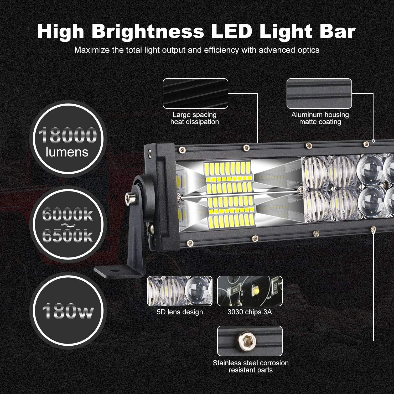 TERRAIN VISION LED Light Bar 32 Inch Curved Led Bar Off Road Light W/ 2pcs 4in 60W LED Pods Fog Lights with Wiring Harness Kit for Jeep Trucks Polaris ATV UTV Boat Light Bars: Automotive