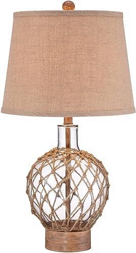 Coastal Nautical Contemporary Table Lamp Clear Glass Wood Rope Net Burlap Drum Shade Decor