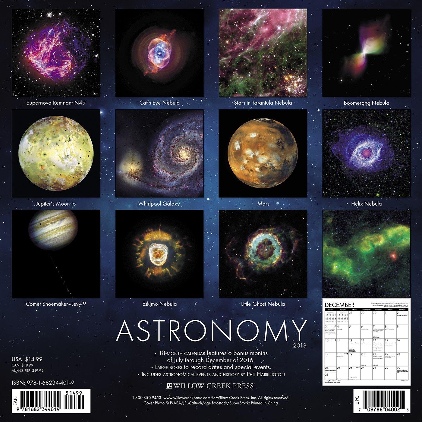 amazon astronomy 2018 calendar willow creek press astronomy