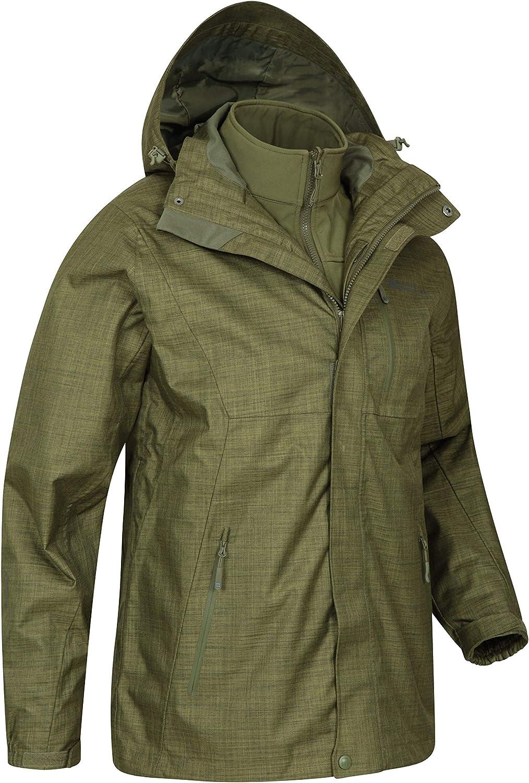 Chaqueta Liviana para Todas Las Estaciones Mountain Warehouse Bracken Mezcla 3 en 1 Chaqueta de Mens Costuras Selladas Impermeable para la Lluvia Transpirable