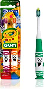 GUM Crayola Kids' Pip-Squeaks Toothbrush, Ultra Soft, 2 Count