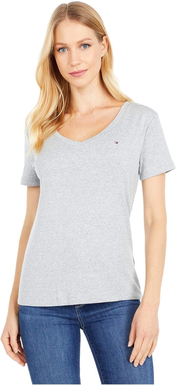 Regular and Plus Sizes Tommy Hilfiger Womens Short Sleeve V-Neck T-Shirt T-Shirt