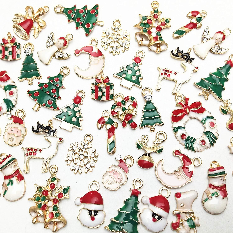 11PCs//Set Christmas Pendants Enemal Regular Mixed Gold Plated Xmas Charm Jewelry