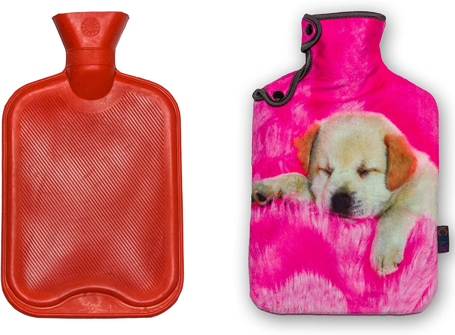 iColor 2L Rubber Hot Water Bottle with Soft Warm Flannel Cover Classic 2000ml 68oz Hot or Cold Water Bag Set Fit Pain Relief Hot Pack Therapy Home Outdoor (Pink Dog)