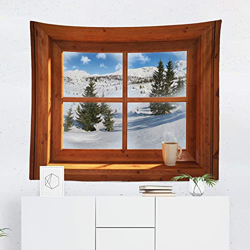 Window Tapestry Wall Hanging Snow Cabin Wood Winter Tapestries Dorm Room Bedroom Decor Art – Printed in the USA – Small to Giant Sizes