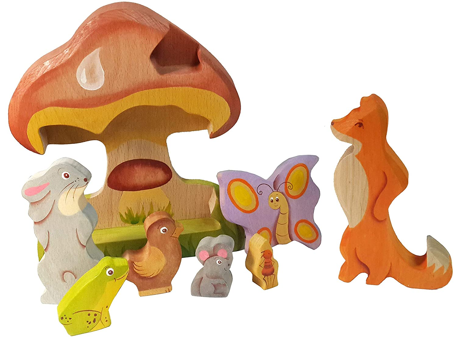 Under The Mushroom fairy tale - 3D Jigsaw Puzzle - Waldorf Toy - Handmade Stackable Wooden Toy inTemenos