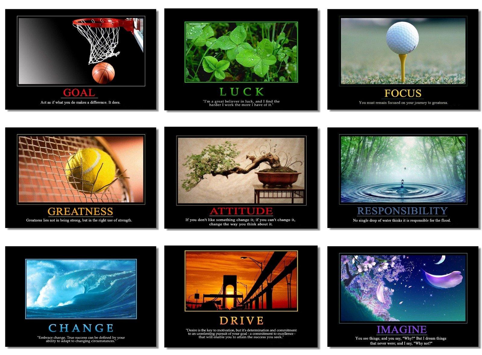 9x Poster Motivational Self Positive Office Quotes Inspirational Success Teamwork Dream Focus Responsibility Prints 20x13'' (50x33cm) E397(01-09)