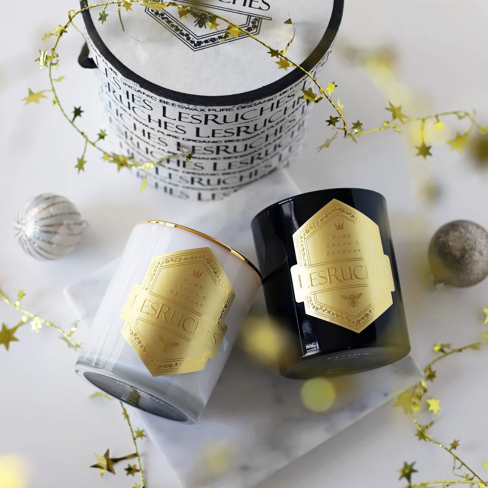 LesRuches Gardenia Organic Beeswax Luxury Candle 9.5 oz.