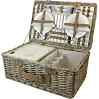 HappyPicnic 4 Persons Somerset Willow Picnic Basket, Wicker Hamper Set with Insulated Cooler Compartment(Grey Color)