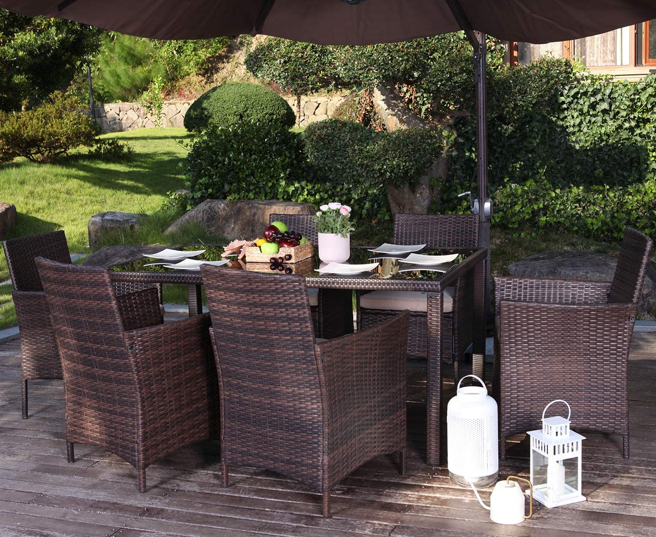 UFI 7 Pieces Patio Dining Sets Outdoor Space Saving Rattan Chairs with Glass Table Outdoor Wicker Dining Set Cushioned Seating, Perfect for Balcony Patio Garden Poolside, Brown