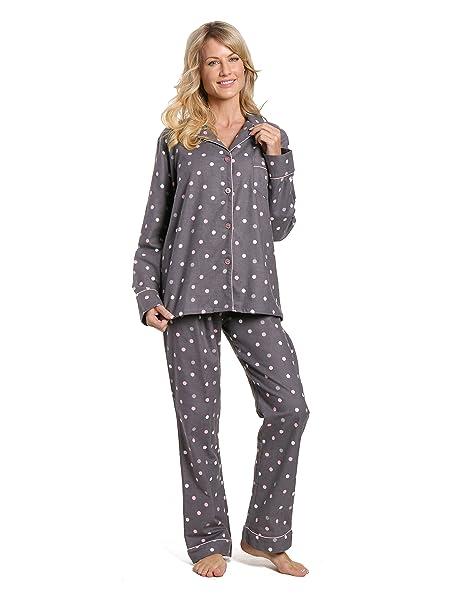 Noble Mount Doble Barco para Mujer 100% Algodón Franela Pijama Pijamas Set - Gris -