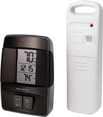 AcuRite 00606 Wireless Indoor Outdoor Thermometer with Clock