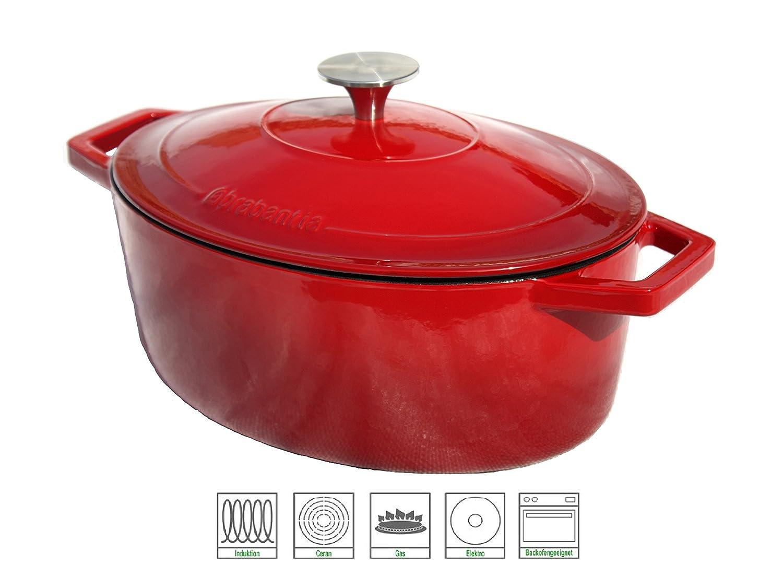 Brabantia 121 - 007 Cazuela inducción fähig 4,75 L 30 x 22 cm, diseño ovalado, color rojo: Amazon.es: Hogar