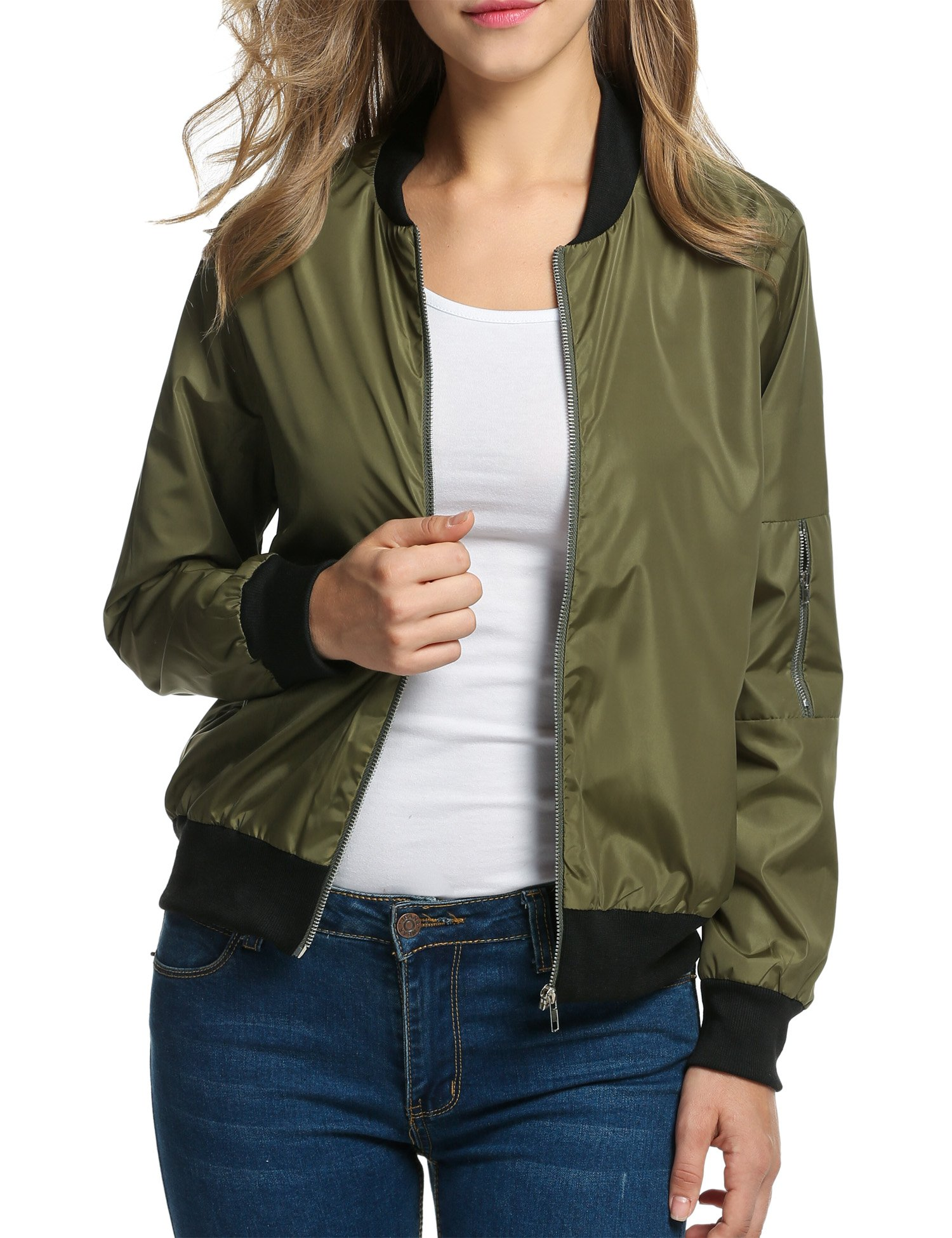 HOTOUCH Women's Long Sleeve Stand Collar Bomber Jacket Coats Outerwear Army Green L