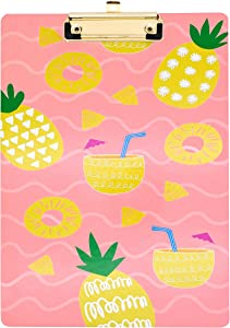 Cute Clipboard 9 x 12.5 Inches | Decorative Clipboard for School, Office, Nurse, Art, Business | Pretty Clipboard | A4, and Letter Size Paper Clipboard with Low Profile Gold Clip | Tropical Pineapple…