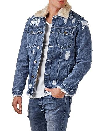 a7bf6f1a9c85 EightyFive Herren Jeansjacke Destroyed Denim Shearling Jacke Teddyfell  EF3600  Amazon.de  Bekleidung