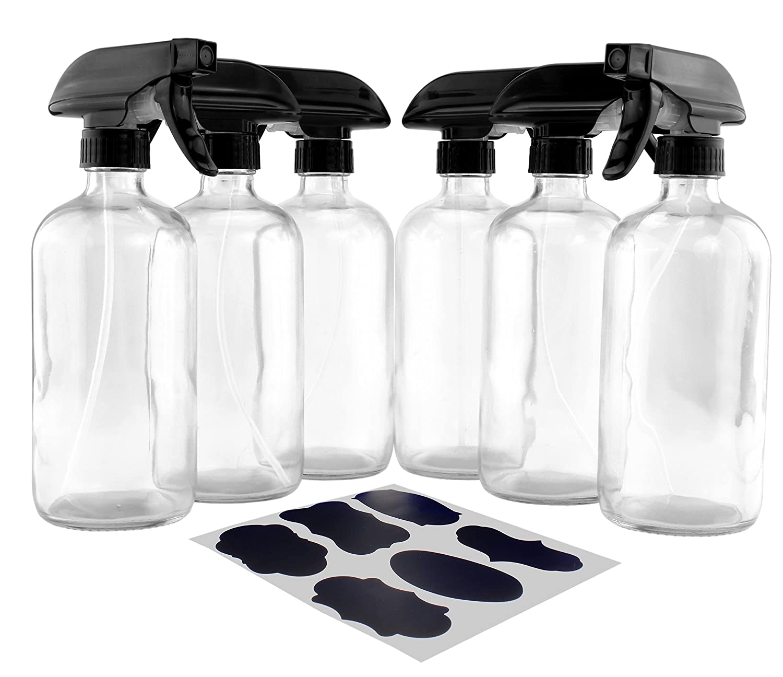 16-Ounce Clear Glass Spray Bottles w/Heavy Duty Sprayers (6-Pack); 3-Setting Spray Tops w/Boston Round Bottles & Chalk Labels