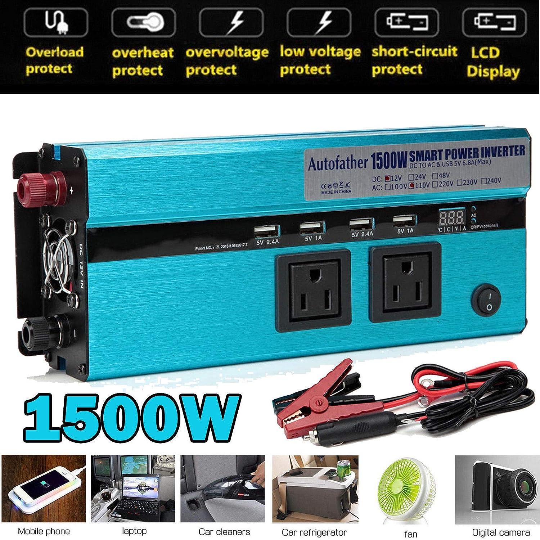 Autofather 1500 Watt 3000W Peak Power Inverter 12V DC to 110V AC Car Truck 4 USB
