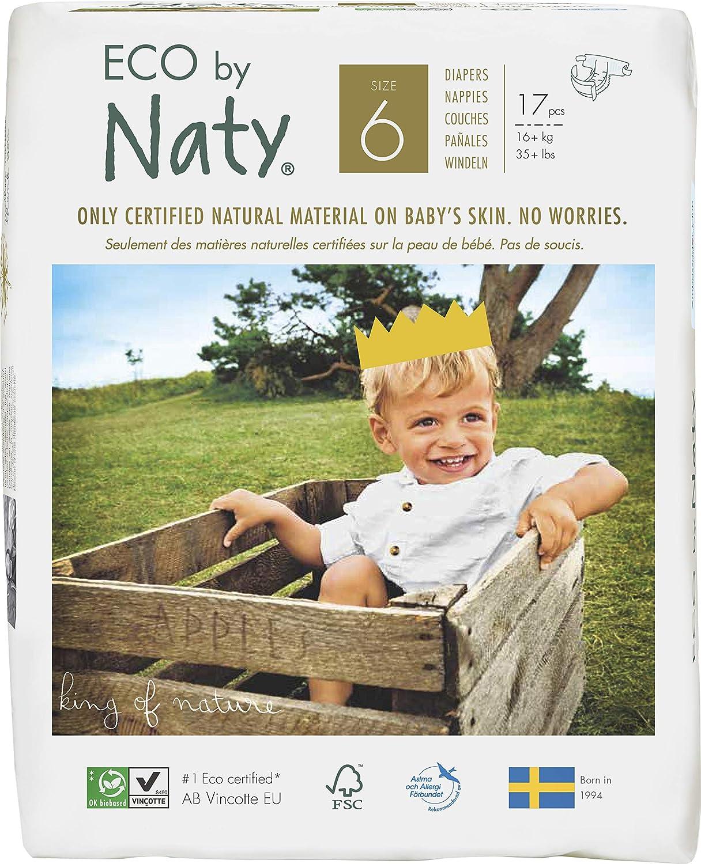 NATY by Nature Babycare 8178419 Eco by Naty Premium Bio-Windeln für empfindliche Haut, Größe 6, 16+ kg, 6 Packungen à 17 Stück (102 Stück insgesamt, weiß Größe 6 weiß Naty AB 07330933187152