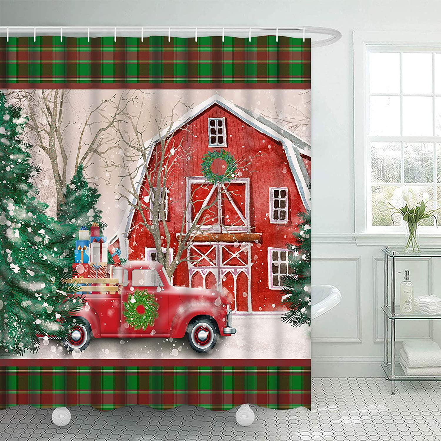 """TAMOC Vintage Red Truck Shower Curtain, Red Barn Snow Shower Curtain with 12 Hooks, Christmas Xmas Bath Curtains, Waterproof Fabric Christmas Tree Shower Curtain for Bathroom, 69"""" W x 70"""" L"""