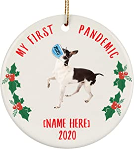 Lovesout Personalized Name Rat Terrier White Black My First Pandemic Christmas 2020 Circle Ornament
