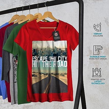 Amazon com: wellcoda Escape The City Womens V-Neck T-Shirt