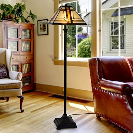 Astonishing Lavish Home 72 Tiff 6 Tiffany Style Floor Lamp Mission Design Art Glass Lighting 2 Led Bulbs Included Vintage Look Handcrafted Accent Decor Multi Theyellowbook Wood Chair Design Ideas Theyellowbookinfo