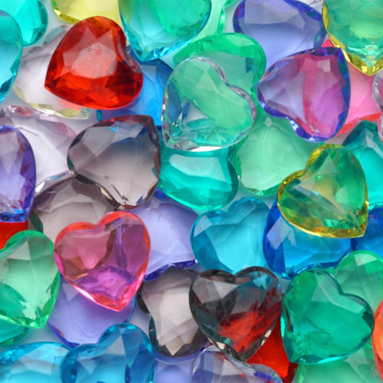 Acrylic Gems - Plastic Hearts for Pirate Treasures - 101 Pcs Heart Gems - Assorted Colors Plastic Gemstones for Kids - Big Plastic Gem Vase Filler - Table Scatters Plastic Crystals - Aquarium Jewels