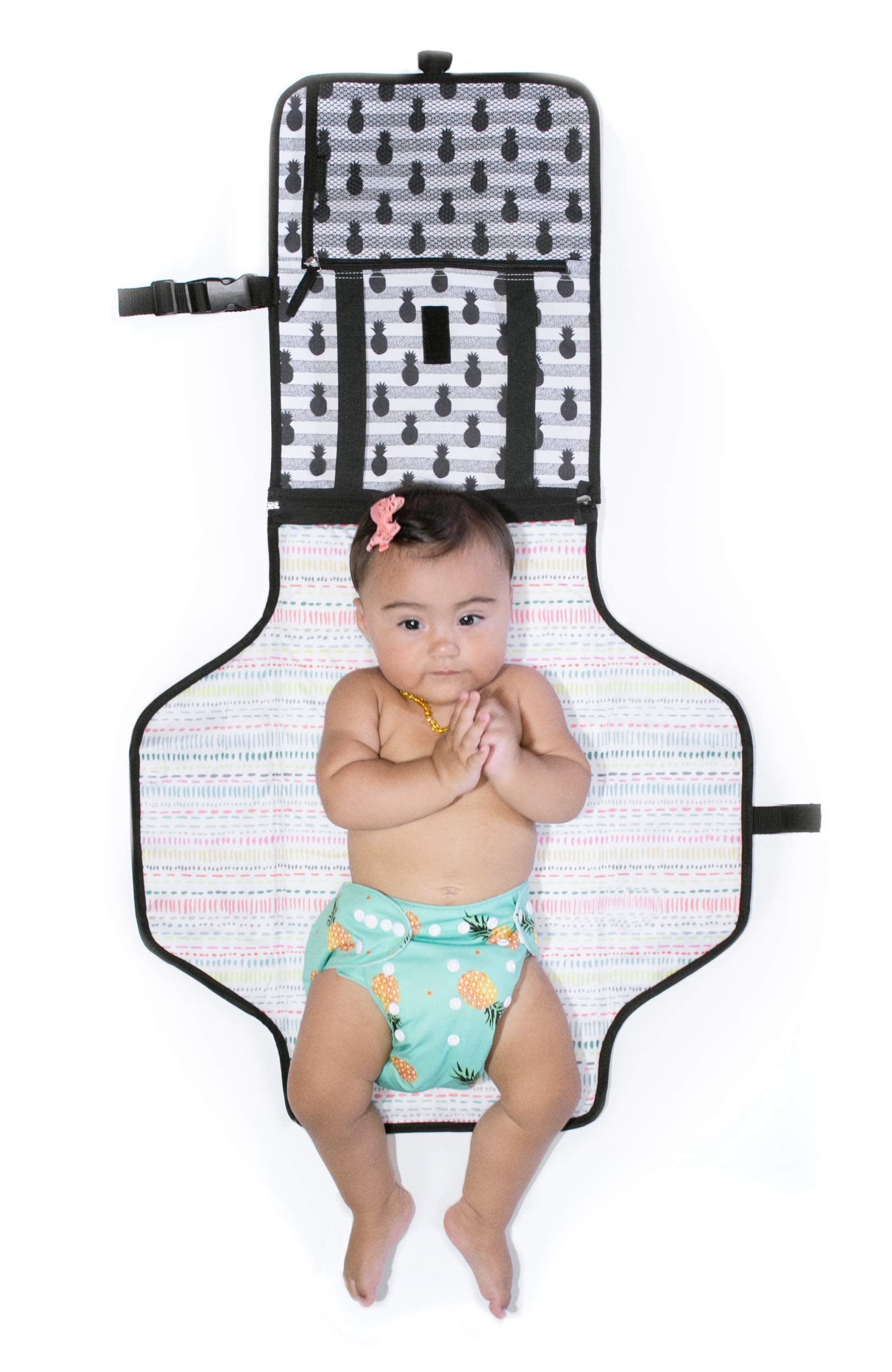 Diaper Changing Pad Diaper Change Mat with Head Cushion and Pockets,Infants Baby Portable Waterproof Changer Mat for Home,Travel & Outside