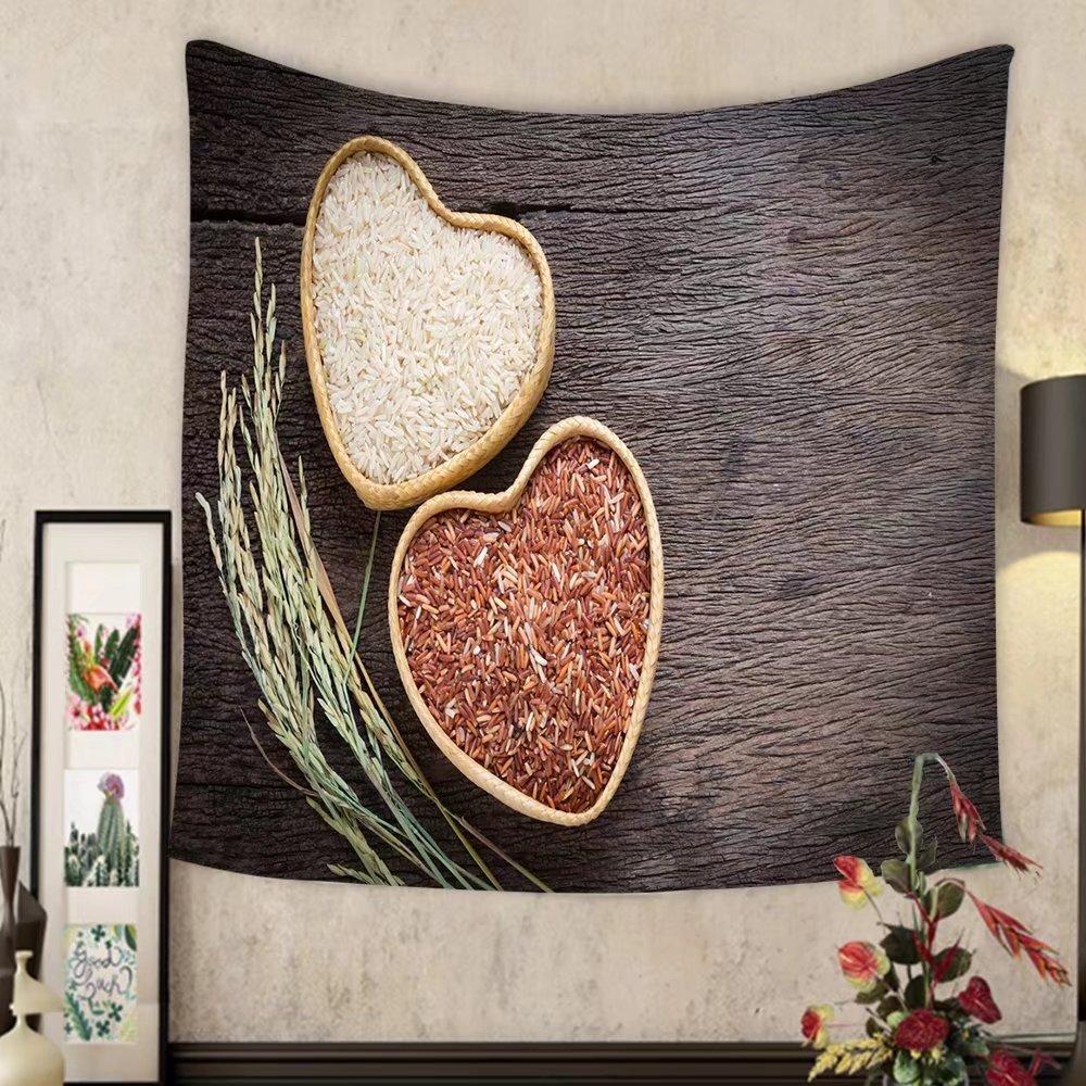 Carolyn J. Morin Custom tapestry organic rice grain brown rice in heart shape bamboo basket over wooden background