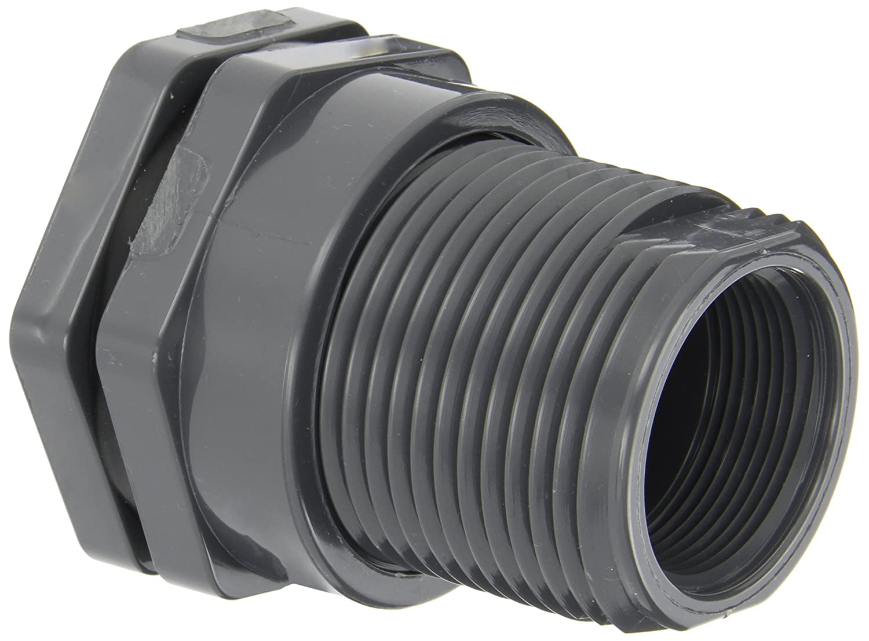 "Hayward BFA1015CES Series BFA Standard Flange Bulkhead Fitting, Socket x Threaded End, PVC with EPDM Seals, 1-1/2"" Size"