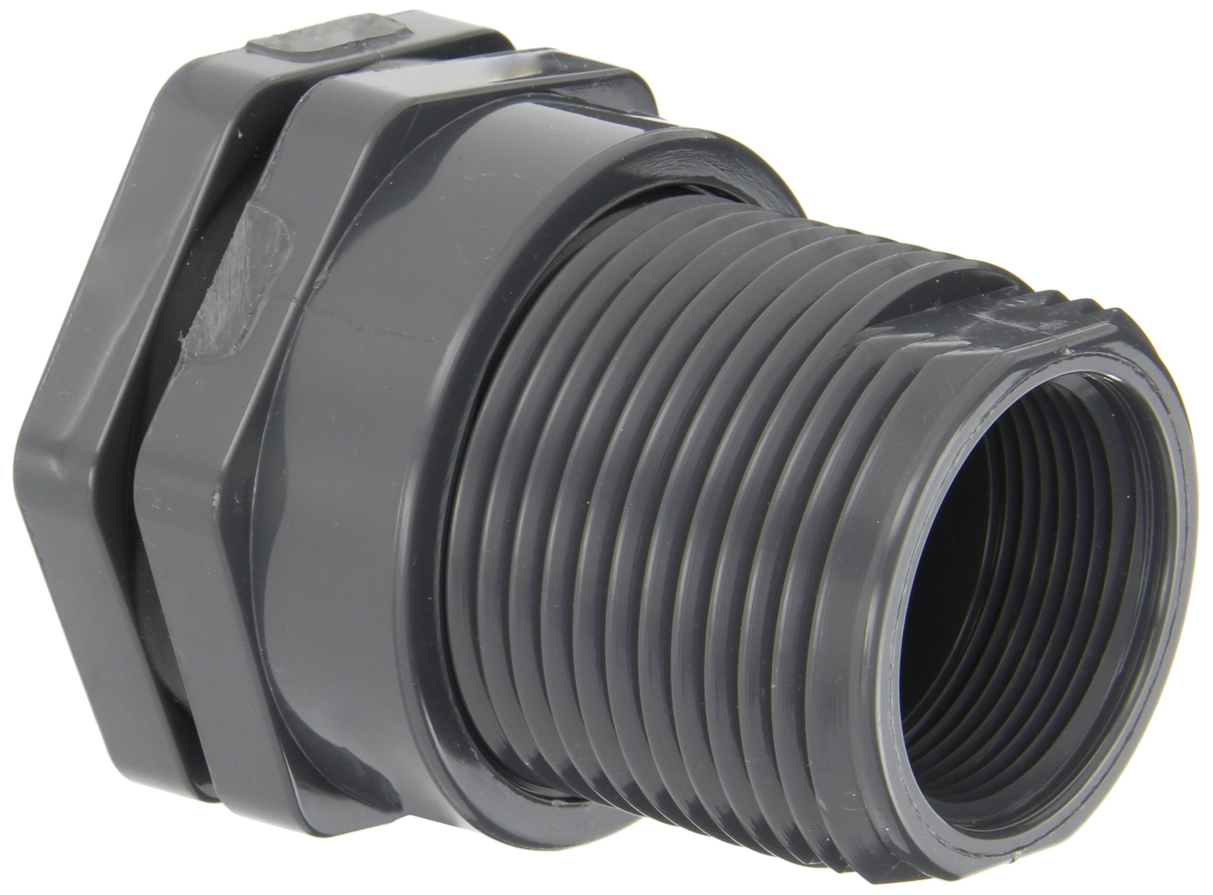 Hayward BFA1015CES Series BFA Standard Flange Bulkhead Fitting, Socket x Threaded End, PVC with EPDM Seals, 1-1/2'' Size