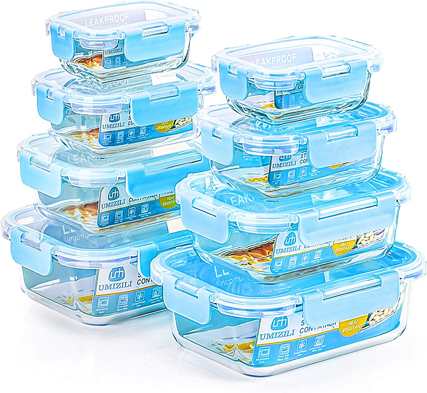 8 Pack Glass Food Storage Containers with Lids, Glass Meal Prep Containers with Snap Locking Lids and Silicone Seal, Stackable Lunch Boxes for Leftover On-the-go Meal Prepping, Dishwasher Safe
